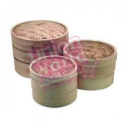 """Bamboo Steamer Set (2 Steamer 1 Lid) 8"""""""